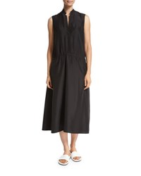Vince Ruched Drop Waist Sleeveless Midi Dress Black