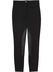 Burberry Lambskin Panel Stretch Crepe Jersey Trousers Black