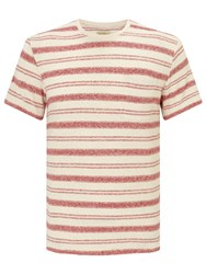 John Lewis And Co. Cotton Linen Stripe T Shirt Red