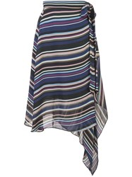 Nicole Miller Flight Stripe Skirt Blue