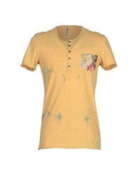 Tanomu Ask Me Topwear T Shirts Men Yellow