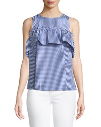 London Times Cold Shoulder Gingham Swing Blouse Light Blue