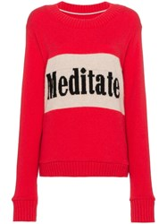 The Elder Statesman Long Sleeve Cashmere Sweater With Slogan Pink And Purple