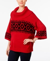 Styleandco. Style Co. Fair Isle Cowl Neck Sweater Only At Macy's New Red Amore Combo
