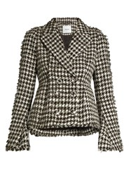 Erdem Marsha Hound's Tooth Cotton Blend Jacket Black White