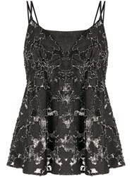 Goen.J Lace Embroidered Camisole Top Black