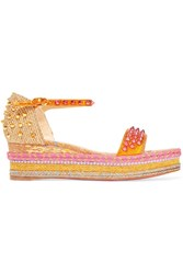 Christian Louboutin Madmonica 60 Studded Metallic Textured Leather Espadrille Sandals Gold