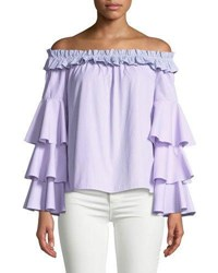 Romeo And Juliet Couture Off The Shoulder Striped Ruffle Tiered Blouse Multi