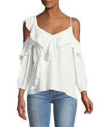 Bailey 44 Unforgettable V Neck Cold Shoulder Ruffle Silk Top White