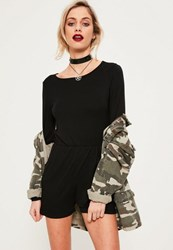 Missguided Black Long Sleeve Jersey Playsuit
