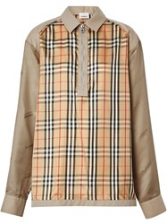 Burberry Seam Detail Vintage Check Shirt Neutrals
