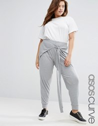 Asos Curve Rib Jogger With Tie Front Grey Marl