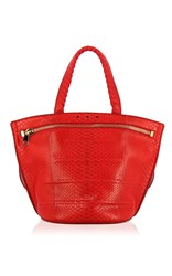 Vbh India Matte Python Tote Red