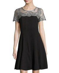 Chetta B Plus Short Sleeve Lace Yoke A Line Dress Blk Silver