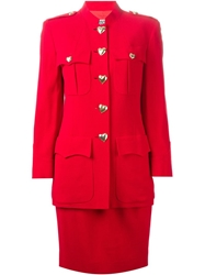 Moschino Vintage Two Piece Suit With A Skirt Red