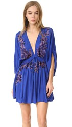 Free People Pretty Pineapple Embroidered Dress Sapphire