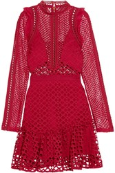 Self Portrait Ruffled Georgette Trimmed Guipure Lace Mini Dress Red