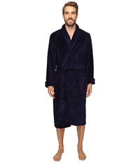 Jockey Sculptured Striped Fleece Robe Navy Men's Robe