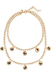 J.Crew Dangling Gold Plated Crystal Necklace Metallic