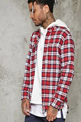 Forever 21 Slim Fit Flannel Shirt White Red