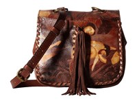 Patricia Nash Karisa Small Crossbody Saddle Bag Roman Goddess Cross Body Handbags Brown
