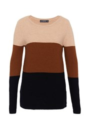 Hallhuber Colour Blocking Knit Jumper Beige