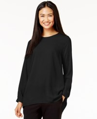 Vince Camuto Pleat Back High Low Blouse Rich Black
