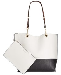 Calvin Klein Reversible Tote With Pouch Black White