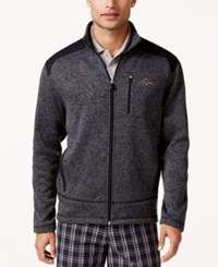 Greg Norman For Tasso Elba Zip Front Fleece Sweater Jacket Only At Macy's Charcoal Heather
