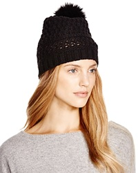 Diane Von Furstenberg Chunky Hat With Fox Fur Pom Pom Black