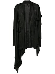 Barbara I Gongini Distressed Draped Cardigan Women Linen Flax 2 Black