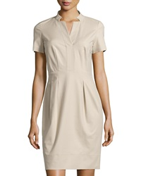 Lafayette 148 New York Yaelle Short Sleeve Pleated Dress Khaki