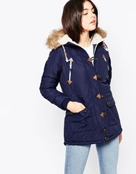 Bellfield Parka With Toggle Button Front And Faux Fur Hood Blue