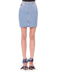 Msgm Button Front Denim Miniskirt 44 10