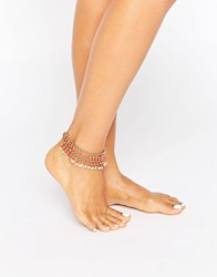 Pieces Disc And Bead Anklet Gold