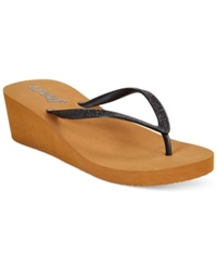 Reef Krystal Star Wedge Thong Sandals Women's Shoes Black Tobacco