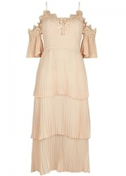 Keepsake All Time High Pleated Chiffon Dress Nude