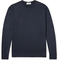 John Smedley Lundy Merino Wool Sweater Midnight Blue