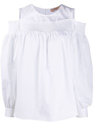Twin Set Smocked Ruffle Trimmed Blouse White