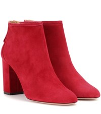 Aquazzura Downtown 85 Suede Boots Red