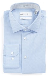 Calibrate Men's Big And Tall Trim Fit Textured Dress Shirt Blue Hydrangea