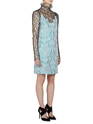 Lanvin Metallic Lace And Brocade Dress Pale Blue