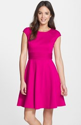 Eliza J Women's Pintucked Waist Seamed Ponte Knit Fit And Flare Dress Pink
