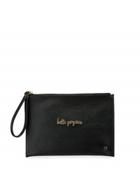 Neiman Marcus Hello Gorgeous Leather Wristlet Black