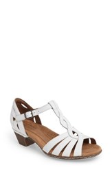 Rockport Cobb Hill Women's Abbott T Strap Sandal White Leather