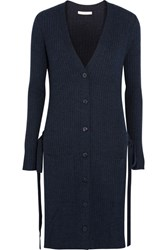 See By Chloe Side Split Ribbed Wool Cardigan Storm Blue