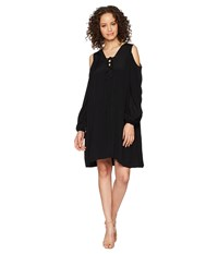 Hale Bob Lady Luxe Crepe Lace Up Cold Shoulder Dress Black