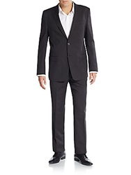 Versace Regular Fit Tonal Pinstriped Lana Wool Suit Grey