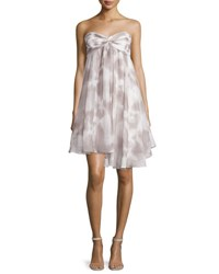 Halston Strapless Ruffled Sweetheart Dress Mist White