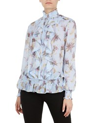 Ted Baker Jorliee Blue Moon Ruffle Front Blouse Pale Blue